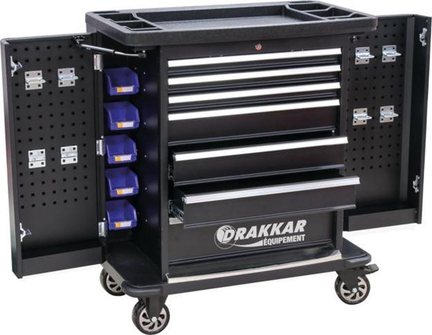Image sur Servante 7 tiroirs avec 2 portes latérales - 107 outils